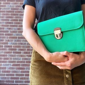 Express green clutch purse